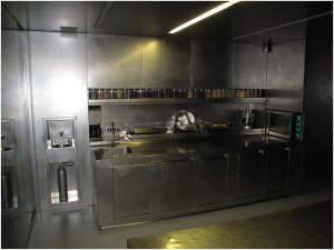 Stainless steel glass and hidden doors