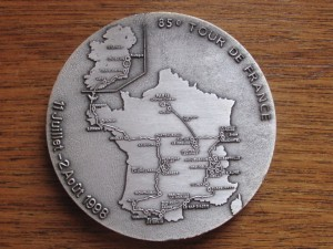 1998 TDF Route on Finishing Medal